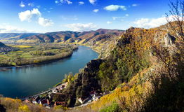 Danube river. Durnstein. Beautiful autumn landscape of Durnstein, Austria stock images