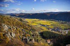 Danube river. Durnstein. Beautiful autumn landscape of Durnstein, Austria royalty free stock images