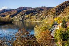 Danube river. Durnstein. Beautiful autumn landscape of Durnstein, Austria stock photos