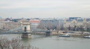 Danube River embankment from Buda castle in Budapest on December 29, 2017. BUDAPEST, HUNGARY - DECEMBER 29, 2017: Danube River embankment from Buda castle in royalty free stock photo