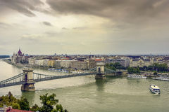 Danube river. The Danube river and the famous Chain Bridge stock photo