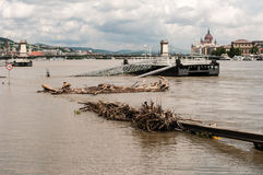 Danube River Flood 2013, Budapest, Hungary Stock Photography