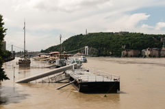 Danube River Flood 2013, Budapest, Hungary Stock Photos