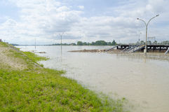 Danube River Flood in Town of Komarom, Hungary, 5th june 2013 Stock Photos