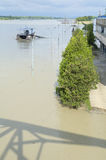 Danube River Flood in Town of Komarom, Hungary, 5th june 2013 Royalty Free Stock Photography