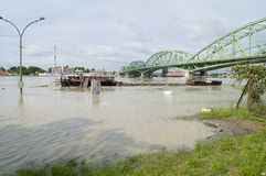 Danube River Flood in Town of Komarom, Hungary, 5th june 2013 Stock Photography