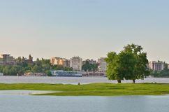 Danube river and Galati city Stock Photos