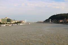 Danube River i Budapest, Ungern Arkivfoto