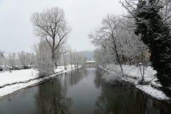 Danube River i tuttlingen Arkivfoton