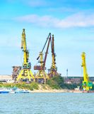 Danube river industrial cargo port Royalty Free Stock Photos