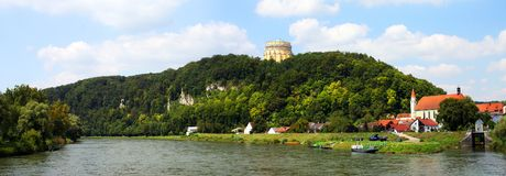 Danube river in Kelheim. View from a lookout above the Danube river on a nice summer day looking at the urban landscape off Kelheim City in Bavaria, Germany Royalty Free Stock Images