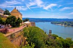 Danube river landscape view from old hillside Petrovaradin town. Novi Sad in Vojvodina region of Serbia royalty free stock image