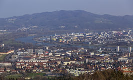 Danube River and Linz. View from the city of Linz and Danube Royalty Free Stock Images