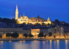 Danube river, Matthias Church and Fisherman's Bastion Stock Images