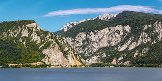 Danube river and mountains Stock Photos