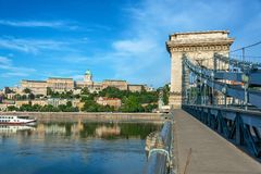 Danube River and National Gallery. Boast passing by the Hungarian National Gallery on the Danube River in Budapest, Hungary stock photography