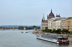 Danube river near the city of Budapest Stock Image