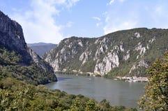 Danube river near the Serbian city of Donji Milanovac. Danube river near the Serbian city of Donji Milanovac stock images