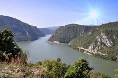 Danube river near the Serbian city of Donji Milanovac. Danube river near the Serbian city of Donji Milanovac stock image