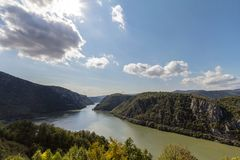 Danube river near the Serbian city of Donji Milanovac in the Iron Gates, also known as Djerdap, which are the Danube gorges royalty free stock images
