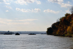 The Danube River in October. Sunday October on the Danube river near Calarasi. Commercial vessels at anchor royalty free stock photo