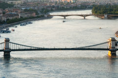 Danube River på solnedgången, Budapest, Ungern Arkivfoton
