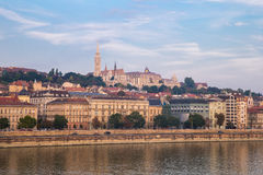 Danube river - panorama in Budapest Hungary. Stock Photos