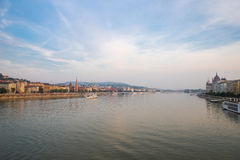 Danube river - panorama in Budapest Hungary. Royalty Free Stock Photos