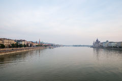Danube river - panorama. Danube in Budapest Hungary. View of the Danube in Budapest. Embankment of Danube River Budapest. Danube river - panorama. Danube in Royalty Free Stock Photography