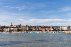 Danube river - panorama. Danube in Budapest Hungary. View of the Danube in Budapest. Embankment of Danube River Budapest Stock Image