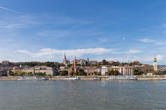 Danube river - panorama. Danube in Budapest Hungary. View of the Danube in Budapest. Embankment of Danube River Budapest Stock Photos