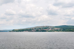 Danube river panorama image with clouds Royalty Free Stock Photos