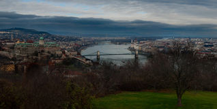 Danube river panoramic view. Panoramic view on the danube river with buda on the left and pest on the right, Budapest, Hungary Royalty Free Stock Photography