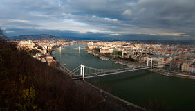 Danube river panoramic view. Panoramic view on the danube river with buda on the left and pest on the right, Budapest, Hungary Stock Photos