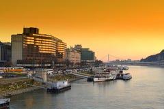 Danube River posterar Budapest Fotografering för Bildbyråer