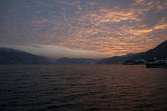 Danube river on sunset Royalty Free Stock Photography