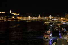 Danube River and Széchenyi Chain Bridge by night, Budapest, Hungary, Europe royalty free stock photos