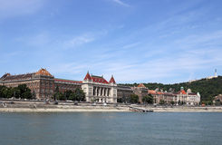 Danube riverside with Gellert hill Royalty Free Stock Photography