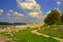 Danube riverside ruins Silistra Bulgaria. Riverside park with the ruins of a medieval cathedral of the Bulgarian Patriarchate from the time of the First Stock Images