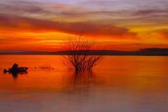 Danube rzeka przy zmierzchem Fotografia Stock