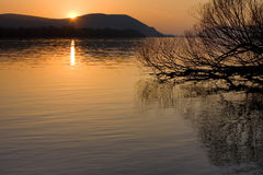 Danube sunset Royalty Free Stock Image