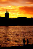 Danube sunset Royalty Free Stock Photos