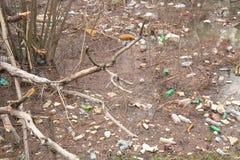 Danube trash. Bottle plastic pollute Stock Photo