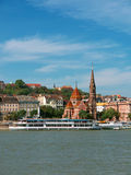 Danube view, Budapest. The Danube river with boats and historic buildings, Budapest, Hungary Stock Images