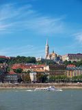 Danube view, Budapest. The Danube river with boats and historic buildings including the Mathias church, Budapest, Hungary stock image