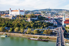 Danube waterfront and panorama of Bratislava city Royalty Free Stock Images