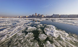 The Danube at wintertime in Budapest Stock Photo