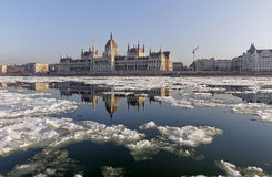 The Danube at wintertime in Budapest Royalty Free Stock Photo
