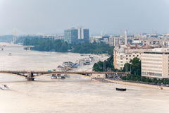 Danubio desbordado en Budapest Imagenes de archivo