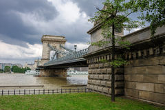 Danubio desbordado en Budapest Fotos de archivo libres de regalías